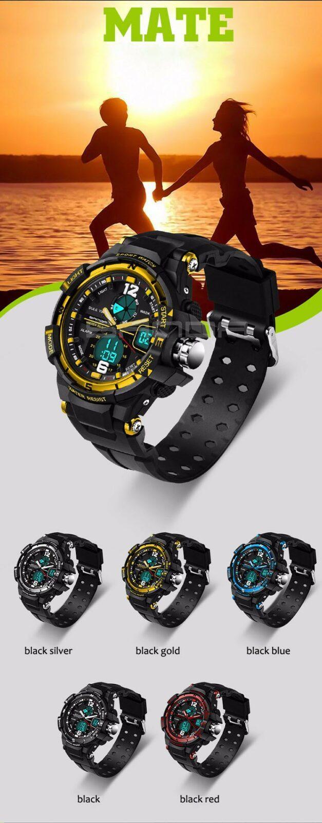 Электронные, водонепроницаемые и ударопрочные мужские наручные часы SANDA 289